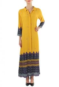 yellow-navy-blue-printed-shirt-dress