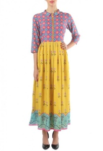 yellow-blue-pink-floral-printed-zippered-dress