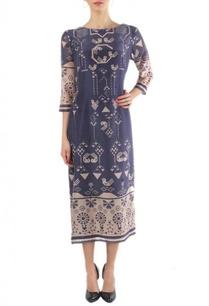 navy-beige-geometric-bird-printed-dress