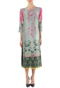 grey-pink-geometric-bird-printed-dress