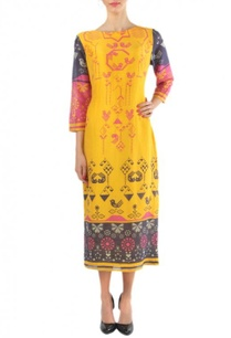 yellow-pink-grey-geometric-bird-printed-dress