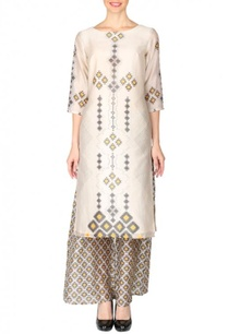 beige-black-yellow-aztec-printed-tunic-with-palazzos