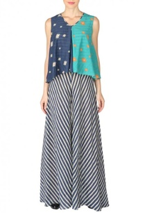 navy-blue-sea-green-aztec-striped-jumpsuit