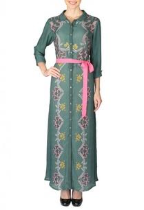 deep-olive-pink-floral-printed-shirt-dress