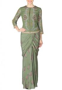 mehendi-floral-printed-sari-with-bomber-jacket
