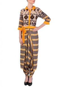 beige-black-yellow-printed-dhoti-jumpsuit