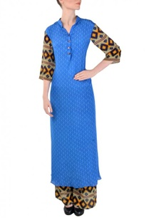 cobalt-blue-aztec-printed-tunic-with-palazzos