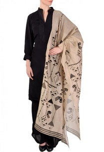 black-beige-geometric-bird-printed-kurta-set