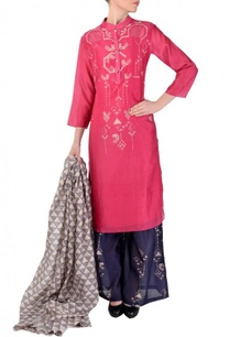 pink-navy-geometric-bird-printed-kurta-set
