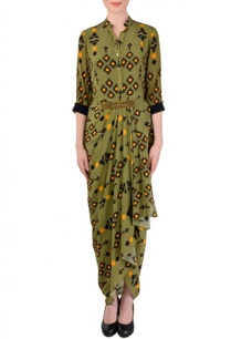 olive-yellow-aztec-printed-dhoti-dress