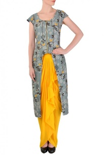 light-grey-bird-printed-tunic-with-yellow-dhoti-skirt