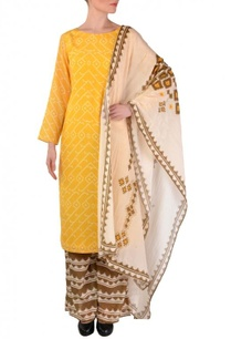 yellow-brown-off-white-aztec-printed-kurta-set