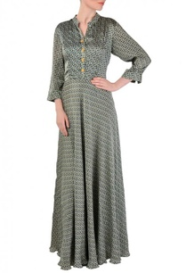 grey-yellow-black-motif-printed-maxi-dress