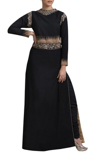 black-embroidered-long-tunic-with-matching-churidar