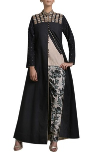 black-embroidered-jacket-with-beige-top-trousers