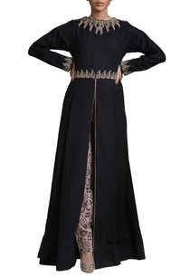 black-beige-slit-tunic-with-printed-trousers