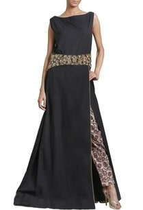 black-embroidered-dress-with-printed-trousers