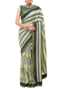 cream-deep-green-motif-printed-sari