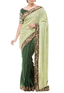 cream-deep-green-floral-embroidered-sari