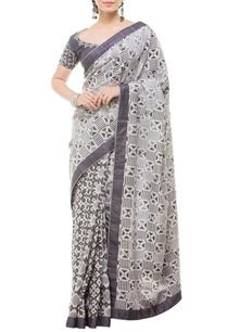 white-grey-geometric-motif-printed-sari