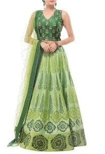 emerald-leaf-green-motif-printed-lehenga-set