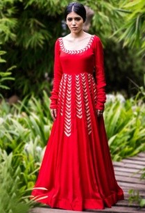 red-gold-leaf-embroidered-anarkali