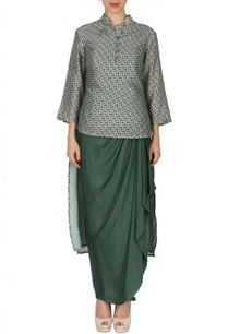 grey-printed-tunic-with-olive-dhoti-skirt