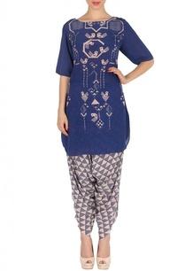 indigo-pink-geometric-bird-printed-tunic-with-patiala