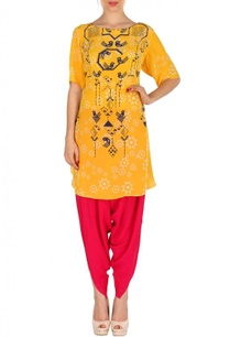 yellow-fuschia-geometric-bird-printed-tunic-with-patiala