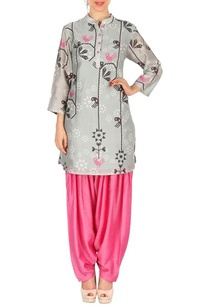 light-grey-bird-printed-tunic-with-pink-patiala-pants