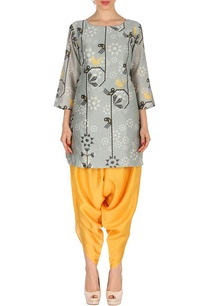 grey-canary-yellow-bird-printed-tunic-with-patiala
