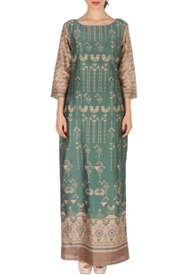 moss-green-beige-bird-printed-maxi-dress