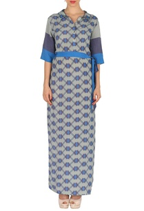 blue-grey-aztec-print-maxi-dress