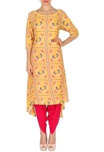 yellow-bird-printed-tunic-with-fuschia-patiala-pants
