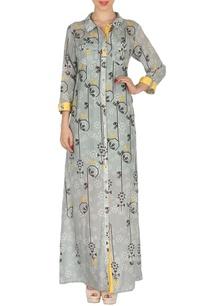 grey-yellow-bird-printed-maxi-shirt-dress
