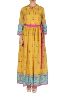 yellow-blue-bird-print-maxi-dress