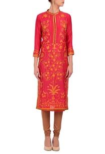fuschia-orange-floral-printed-tunic