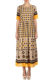 beige-yellow-black-aztec-printed-dress