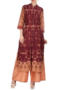 maroon-peach-bird-printed-tunic-palazzo-set