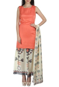 peach-white-motif-printed-dress-with-dupatta