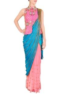 peacock-blue-pre-stitched-sari