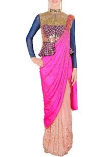 hot-pink-blue-pre-stitched-sari