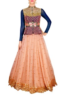 blue-peplum-blouse-lehenga-set