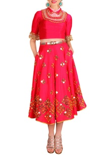 red-embellished-half-lehenga-set