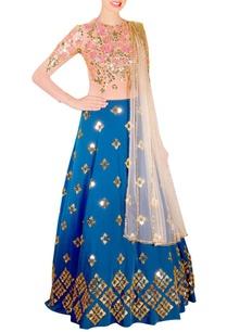 imperial-blue-lehenga-beige-bodysuit