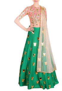 leaf-green-beige-embellished-lehenga-set
