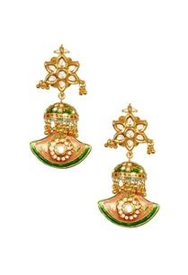gold-plated-floral-kundan-green-enamelled-earings