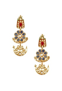 gold-plated-maroon-blue-stone-floral-earrings