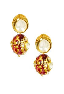 gold-plated-deep-pink-enamelled-kundan-earrings