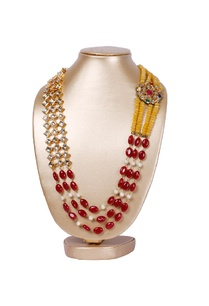 gold-plated-yellow-red-stone-motif-necklace